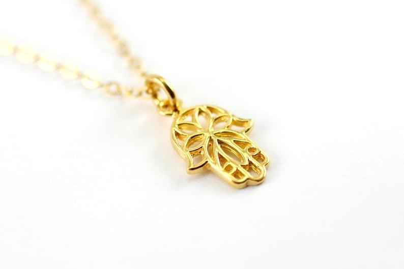 Gold Hamsa Necklace Dainty Gold Necklace Gold Flower Hamsa image 0