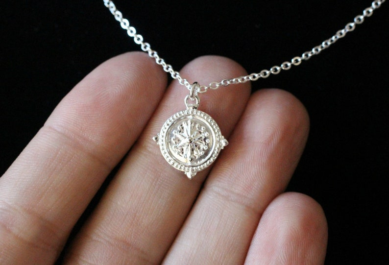 Sterling Silver Compass Necklace Dainty Sterling Silver Charm image 0