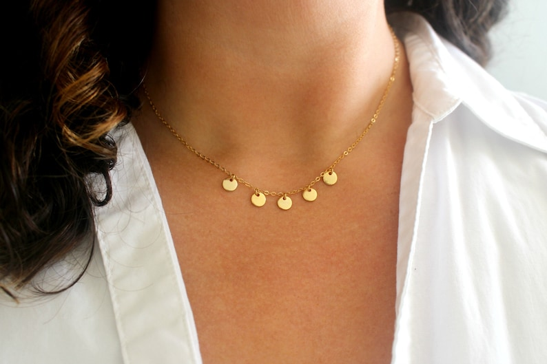 Dainty Gold Disc Necklace Gold Coin Necklace Gold Necklace image 0