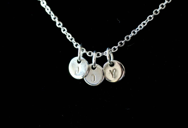 Stamped Silver Disc Necklace Customized Silver Initial image 0