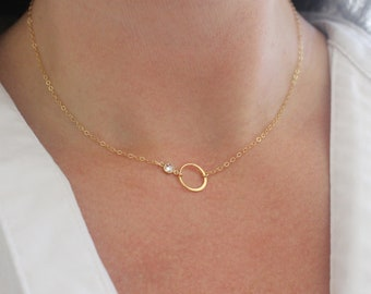 Twinkling Gold Karma Necklace, Gold Eternity Necklace, Dainty Crystal Necklace, Gold Ring Necklace, Celestial Gold Circle Necklace for Women