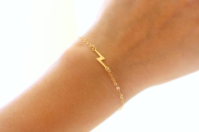 Gold Lightning Bolt Bracelet Thin Gold Charm Bracelet Dainty image 0