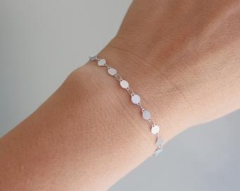 Flashing Stainless Steel Disc Bracelet, Stainless Steel Bracelet, Silver Bracelet for Women, Silver Disc Bracelet, Silver Coin Bracelet