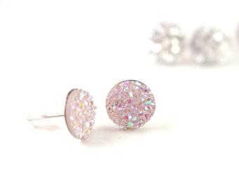Pink Druzy Stud Earrings, Pink Druzy Post Earrings, Pink Glitter Earrings, Pink Druzy Earrings, Surgical Stainless Steel Earrings