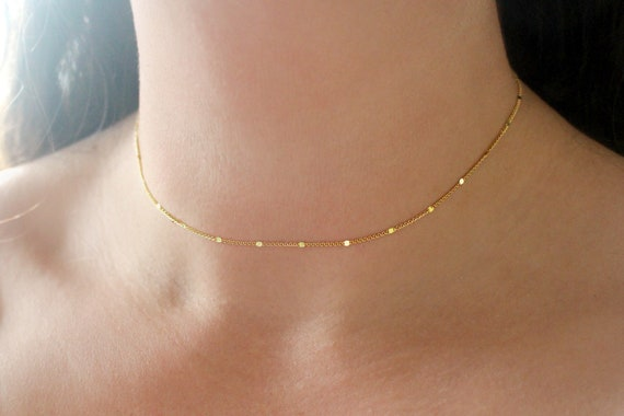 Gold choker necklace,24K gold plated ball chain choker,dainty choker,delicate chain choker,everyday choker,simple choker,ball chain necklace