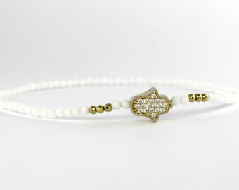 White and Gold Hamsa Bracelet, Dainty Beaded Bracelet, Pave Bracelet, Gold Charm Bracelet, Beaded Stacking Bracelet, Thin Stacking Bracelet