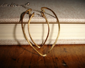 Hammered Brass Curved Open Heart Leaf Pendant on a Sterling Silver Chain, Modern, Minimalist