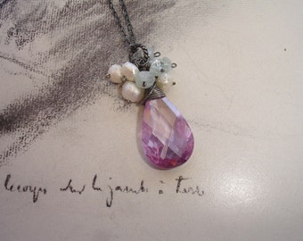 Amethyst Cubic Zirconia Teardrop Sterling Silver Necklace with Freshwater Pearls and Aquamarine, Romantic, February Birthstone
