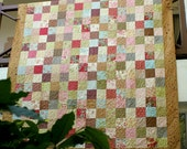 Double Bed Quilt, Twin Quilt, Patchwork Quilt, Cottage Chic, Floral Bed Blanket, Heirloom Quilt