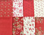 Rural Jardin, French General, 8 Fat Quarters, Red White, Pre Washed, OOP Rare