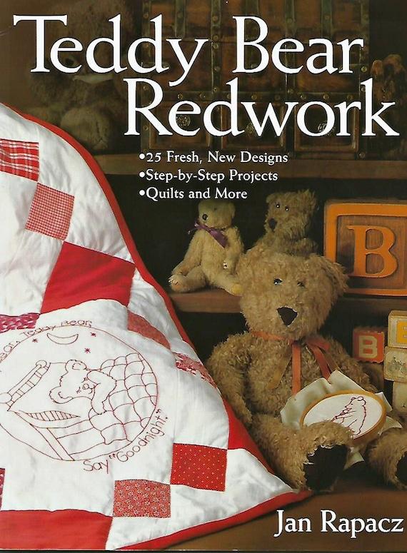 Teddy Bear Redwork Embroidery Quilt Pattern Book Jan Rapacz Etsy