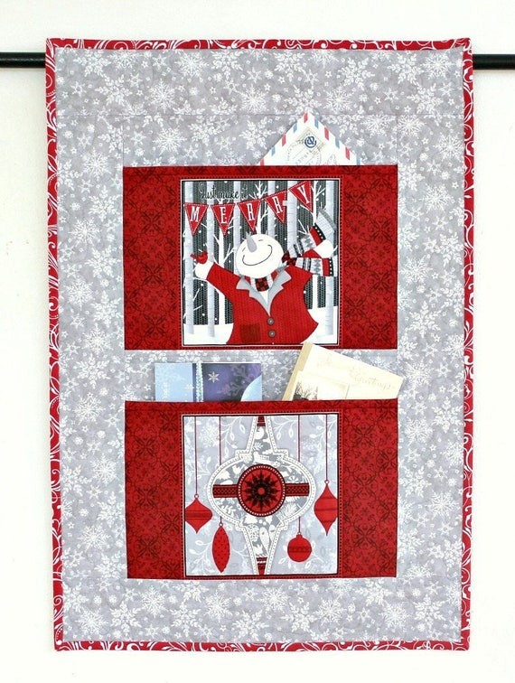 christmas card holder quilted wall hanging grey red letter etsy - Christmas Card Holder Wall Hanging