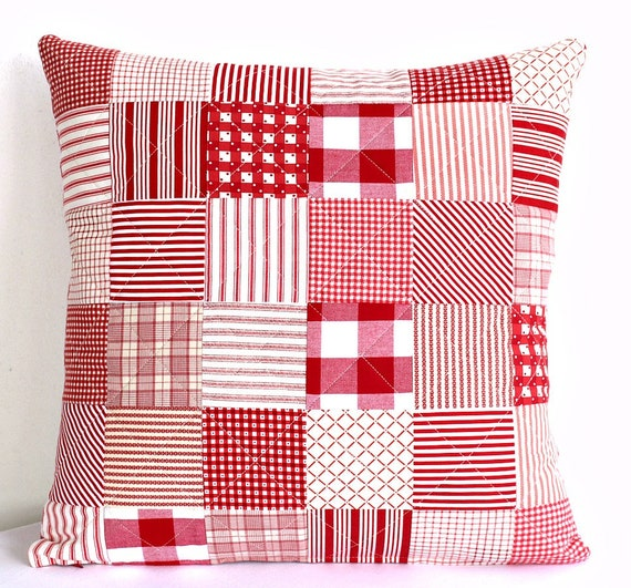 Quilted Pillow Cover Red White Throw Pillow Patchwork Etsy