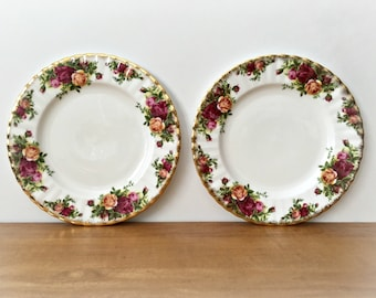 2 Old Country Roses Salad Plates Royal Albert Small China Plates