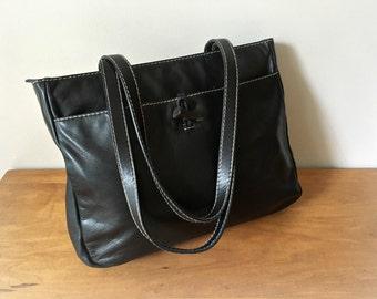 1622eba25 Ralph Lauren Black Leather Tote Bag Vintage Handbag