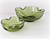 1970s Retro Avocado Green Glass Serving Bowls Wavy Glass