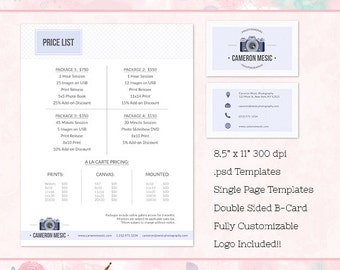 Order form business card templates for photographers price list business card templates for photographers business forms marketing photoshop templates reheart Gallery