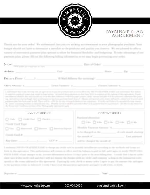 Payment Plan Agreement Form For Photographers Credit Authorization Form Photoshop Template Instant Download