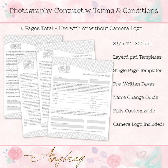 Contract Form For Photographers Photography Agreement Terms Conditions Photoshop Template 4 Pages