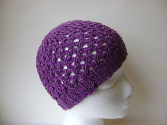 Pdf Knitting Pattern Womans Beanie Summer Lace Beanie Hat Etsy