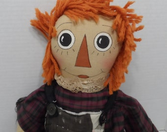 "23"" Primitive Country Folk Art Raggedy Ann Quilt Trim Outfit Tea Stained"