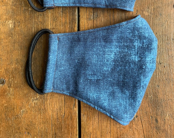 Adult Denim Blue Double Layer Face Mask with Filter Pocket