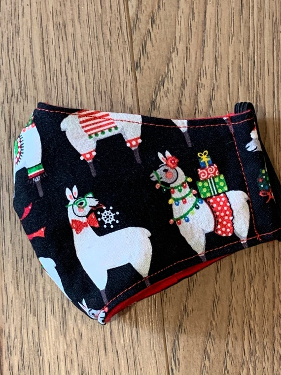 Young Child Christmas Llama Double Layer Face Mask with Filter Pocket