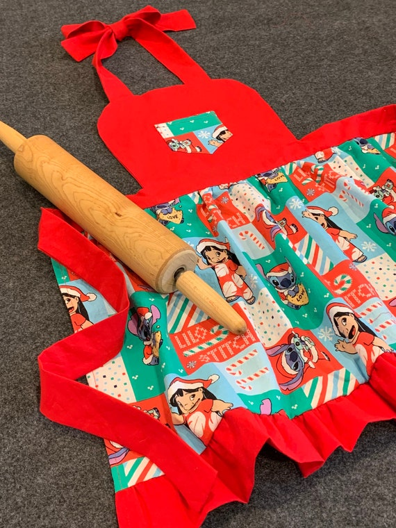 Lilo and Stitch Red Holiday Child's Apron Size 5-6