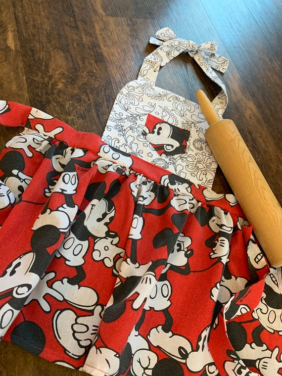 Girls Red Mickey Mouse Child's Apron