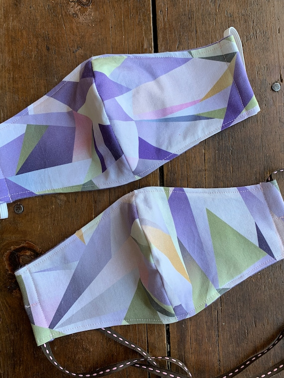 Women's Purple Kaleidoscope Double Layer Face Tie Mask with Filter Pocket