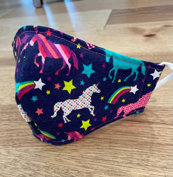 Colorful Unicorn Adult Double Layer Mask with Filter Pocket
