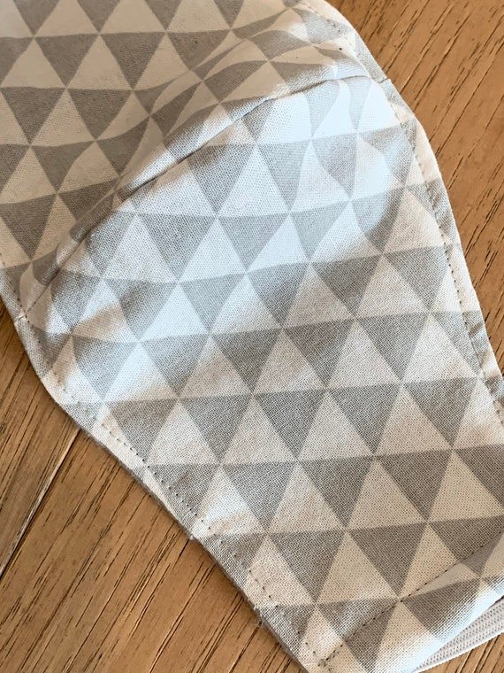 Gray Geometric  Adult Double Layer Mask with Filter Pocket
