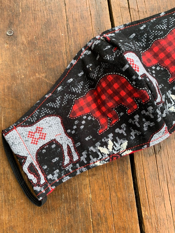 Black Fair Isle  Adult Double Layer Mask with Filter Pocket
