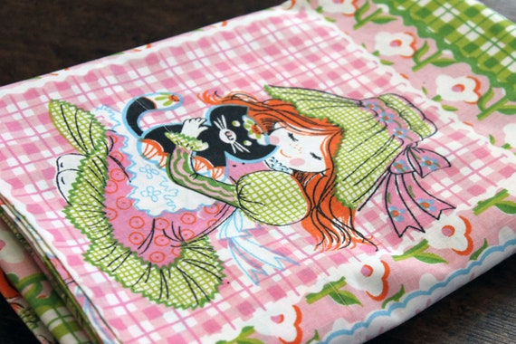 Vintage Girl and Cat TWIN Bed Sheet