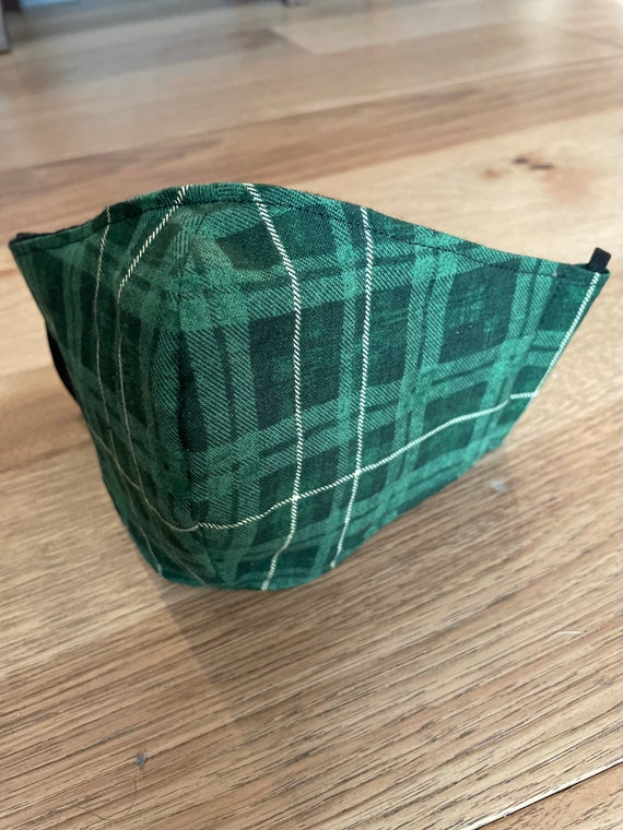 Green Plaid Adult Double Layer Mask with Filter Pocket