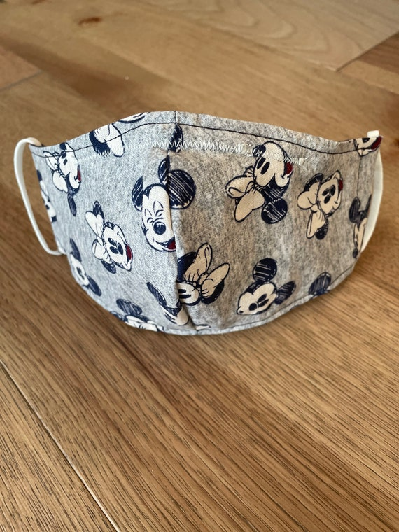 Classic Mickey & Minnie Mouse Adult Double Layer Face Mask w/ Filter Pocket and Nose Wire