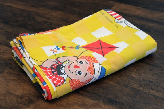 Vintage Raggedy Ann and Andy TWIN Bed Sheet