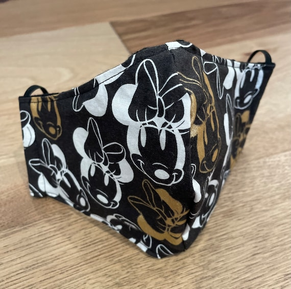 Minnie Mouse Black Adult Double Layer Mask with Filter Pocket