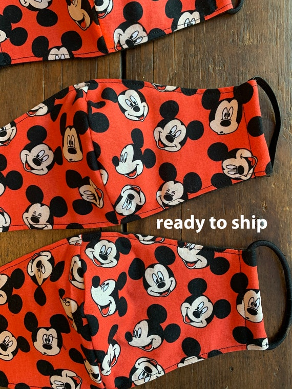 Red Mickey Mouse  Men's, Women's and Child's Double Layer Face Mask with Filter Pocket
