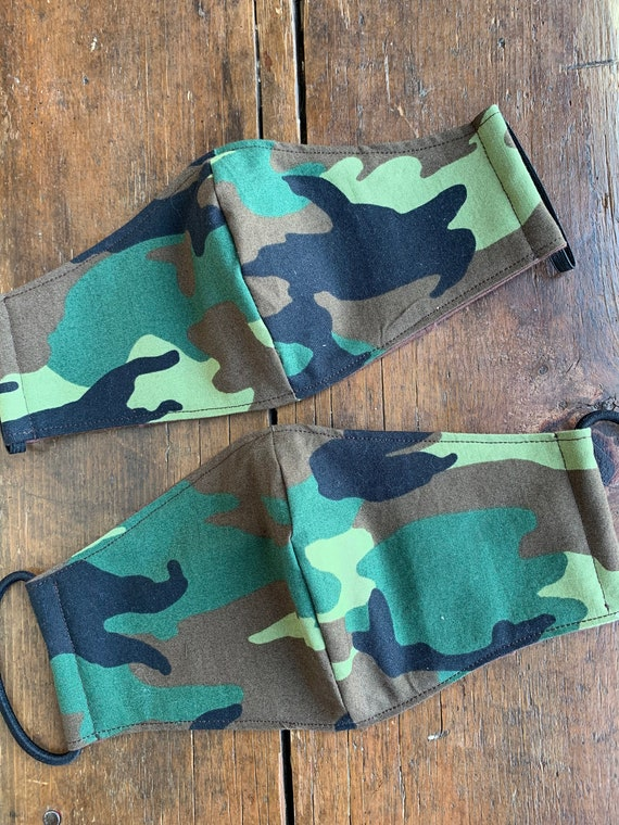 Men's and Women's Woodland Camouflage Double Layer Face Mask with Filter Pocket