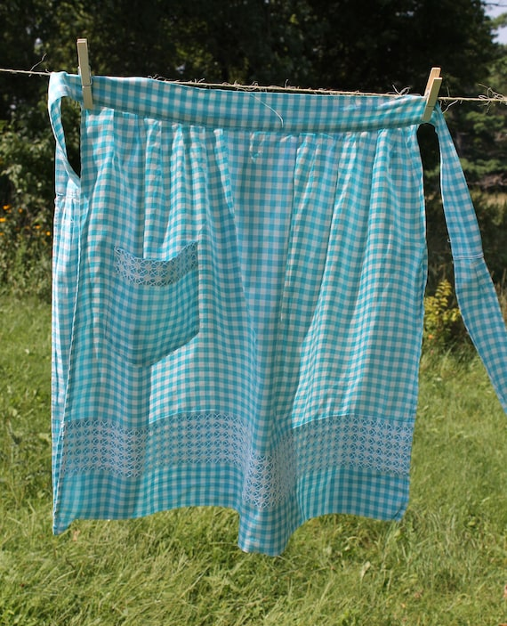 Retro Turquoise Gingham Cross Stitch Apron