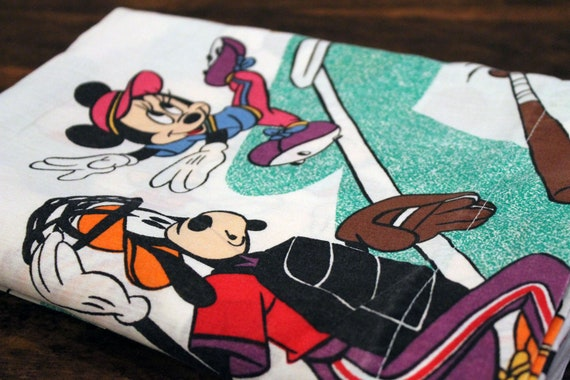 SALE Vintage Mickey Mouse Sports Sheet TWIN