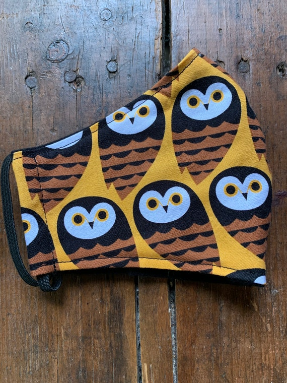 Fall Owl Adult Double Layer Face Mask with Filter Pocket