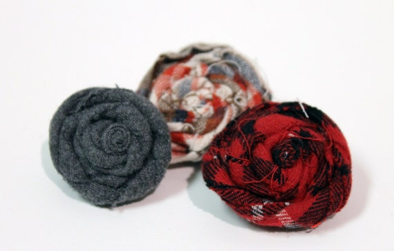 Upcycled Plaid Fabric Flower Pin SET