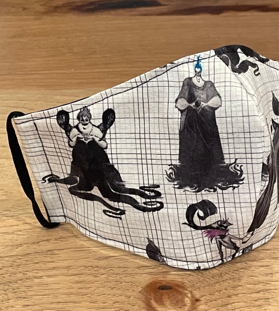 Disney Sketch Book Villain's Adult Double Layer Face Mask with Filter Pocket