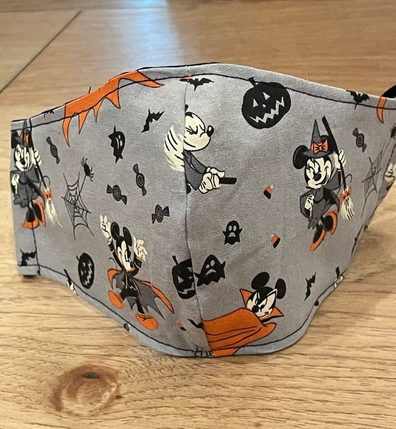 Mickey Mouse Gray Halloween Adult Double Layer Mask with Filter Pocket