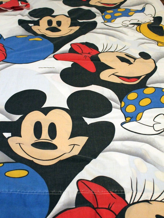 Vintage Mickey & Minnie Mouse Bed Sheet TWIN