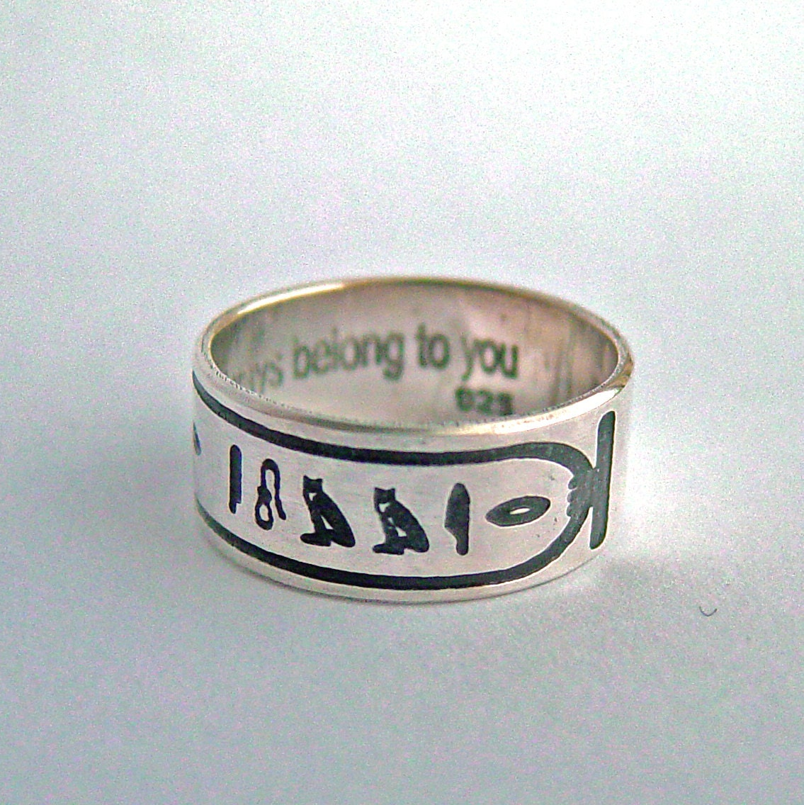 Ägyptische Hieroglyphe Kartusche Ring Silberring gravierte | Etsy