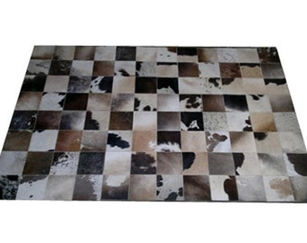 Cowhide Carpet Rug Patchwork Gray Brown Beige Sizes 2' x 3' to 8' 2'' x 11' 6'' Cupido 659 Premium Leather Quality Traditional Handcraft