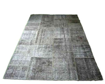 Patchwork Vintage Turkish Hand Knotted Rug Retro Bohemian Carpet Sizes 2' x 3' to 8' 2'' x 11' 6'' Grey 46 Traditional Anatolian Quality
